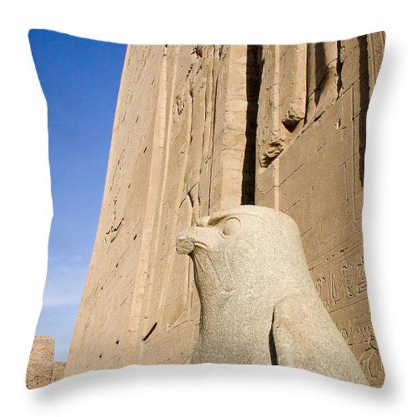 Falcon Statue at Edfu Throw Pillow by Darcy Michaelchuk