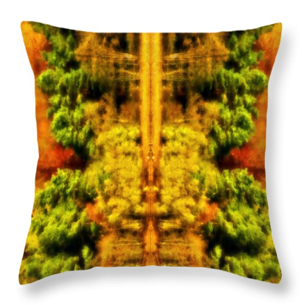 Fall Abstract Throw Pillow by Meirion Matthias