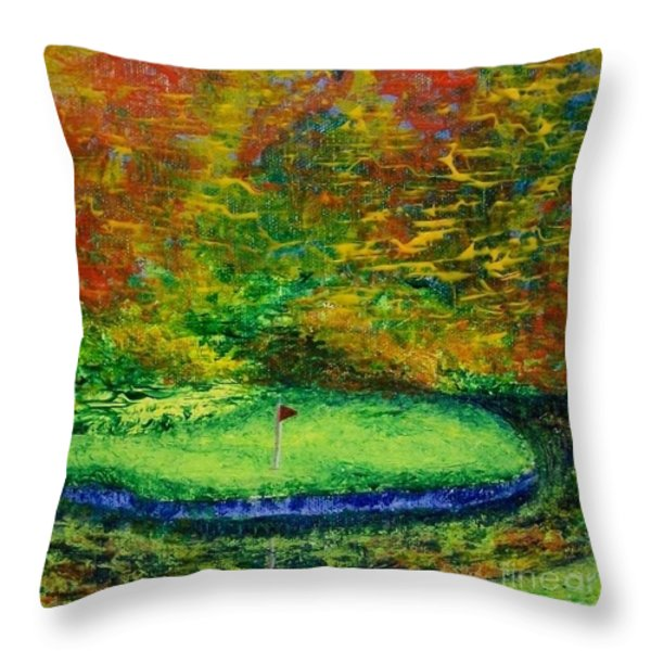 Fall On The Green Throw Pillow by Emily Young