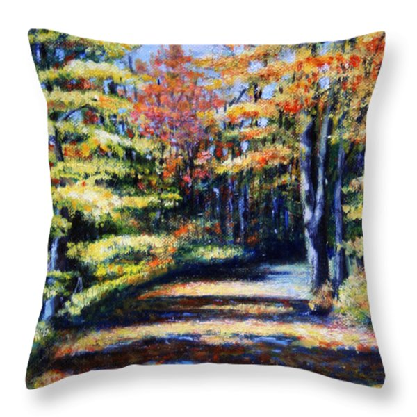 Fall Path Throw Pillow by Paul Walsh