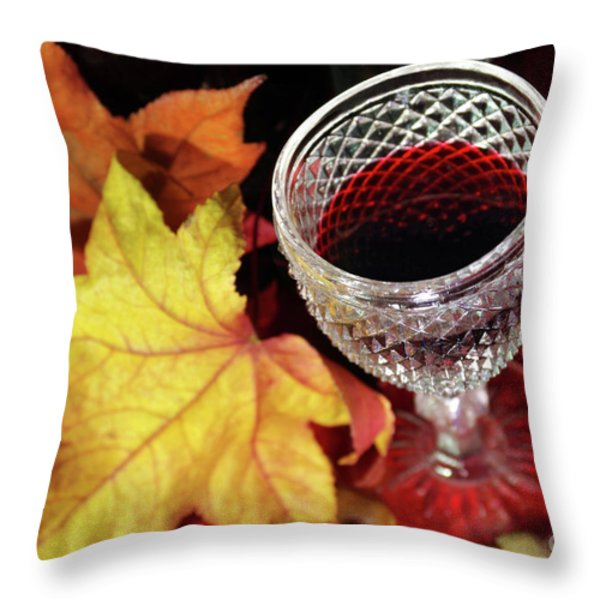 Fall Red Wine Throw Pillow by Carlos Caetano
