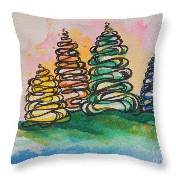 Fall Season ..swirling In... Throw Pillow by Chrisann Ellis