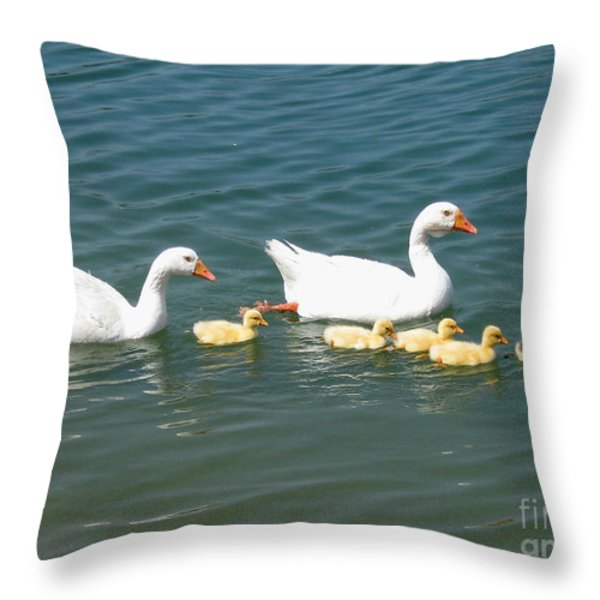 Family outing on the Lake Throw Pillow by Ed Churchill