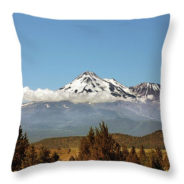 Family Portrait - Mount Shasta and Shastina Northern California Throw Pillow by Christine Till