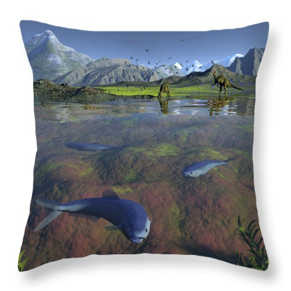 Fanged Enchodus Predatory Fish Throw Pillow by Walter Myers