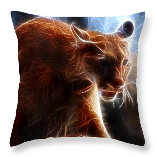 Fantasy Cougar Throw Pillow by Paul Ward