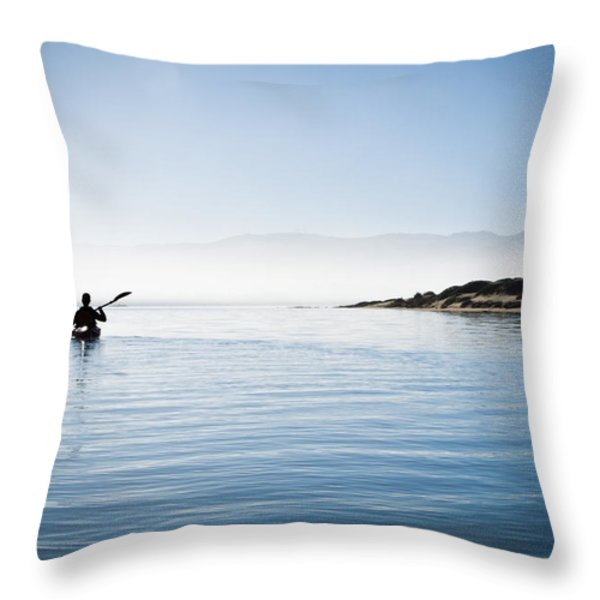 Faraway Kayaker in Morro Bay Throw Pillow by Bill Brennan - Printscapes