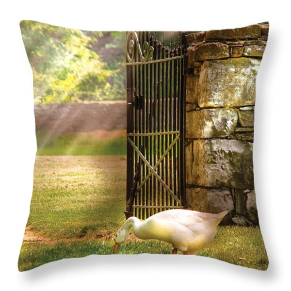 Farm - Geese -  Birds Of A Feather Throw Pillow by Mike Savad