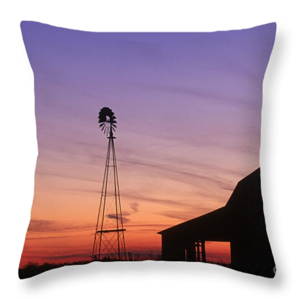 Farm At Sunset Throw Pillow by David Davis and Photo Researchers