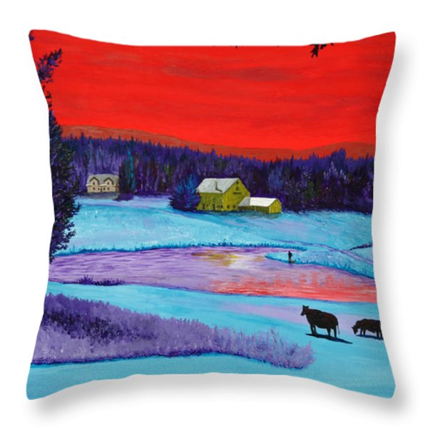Farm Pond Throw Pillow by Randall Weidner