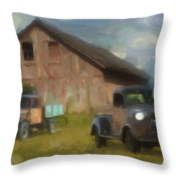 Farm Scene Throw Pillow by Jack Zulli