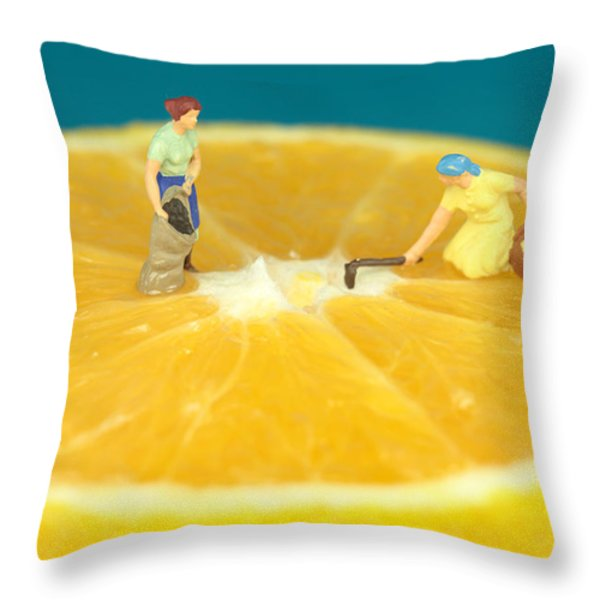Farmers on orange Throw Pillow by Paul Ge