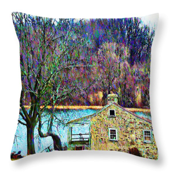 Farmhouse By The Lake Throw Pillow by Bill Cannon