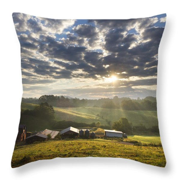 Farmlands Of Appalachia Throw Pillow by Debra and Dave Vanderlaan