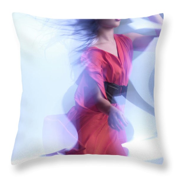Fashion Photo Of A Woman In Shining Blue Settings Wearing A Red  Throw Pillow by Oleksiy Maksymenko