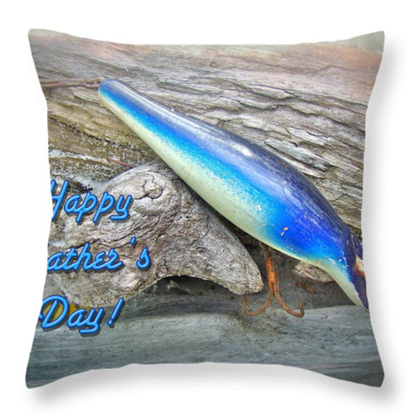 Fathers Day Greeting Card - Vintage Floyd Roman Nike Fishing Lure Throw Pillow by Mother Nature