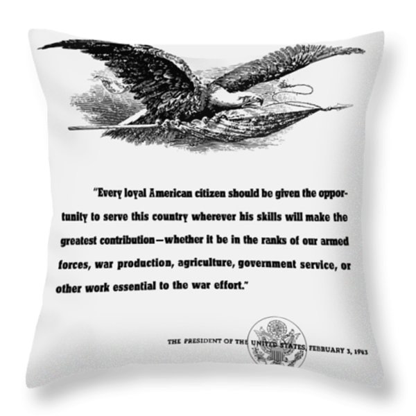 FDR War Quote Throw Pillow by War Is Hell Store
