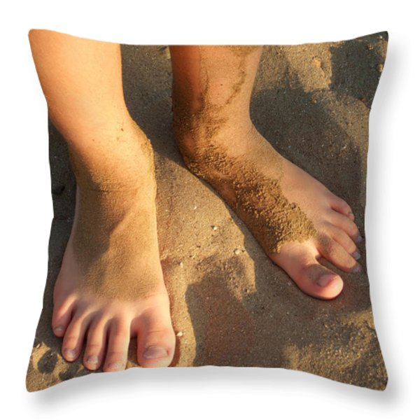 Feet Of A Child In The Sand Throw Pillow by Matthias Hauser