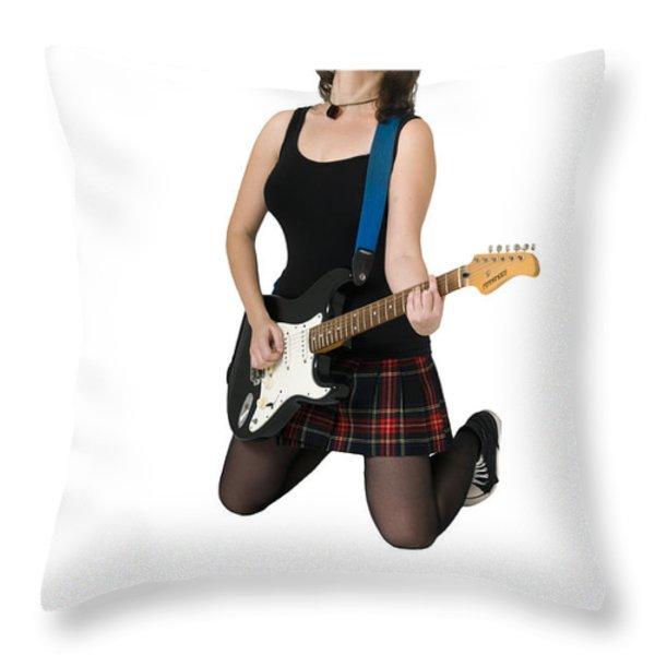 Female Guitarist Jumps Throw Pillow by Ilan Rosen