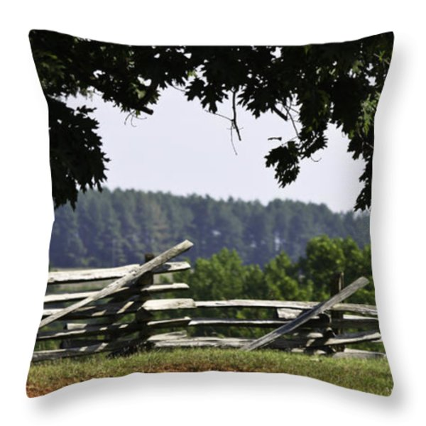 Fence At Appomattox Throw Pillow by Teresa Mucha