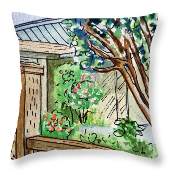 Fence Sketchbook Project Down My Street Throw Pillow by Irina Sztukowski