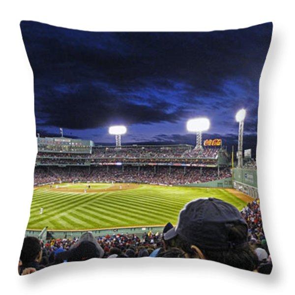 Fenway Night Throw Pillow by Rick Berk