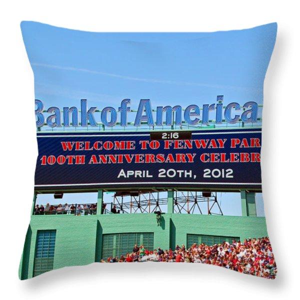 Fenway's 100th Throw Pillow by Joann Vitali