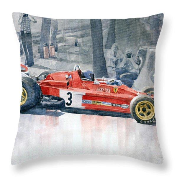 Ferrari 312 B3 Monaco Gp 1973 Jacky Ickx Throw Pillow by Yuriy  Shevchuk