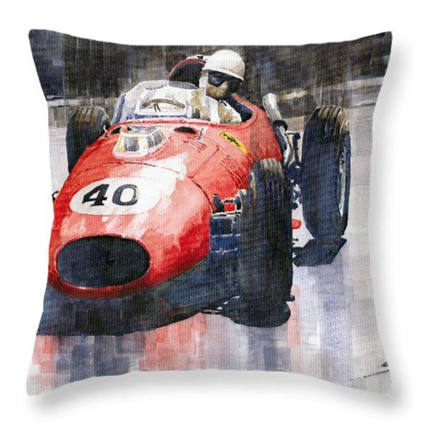 Ferrari Dino 246 F1 Monaco Gp 1958 Wolfgang Von Trips Throw Pillow by Yuriy  Shevchuk