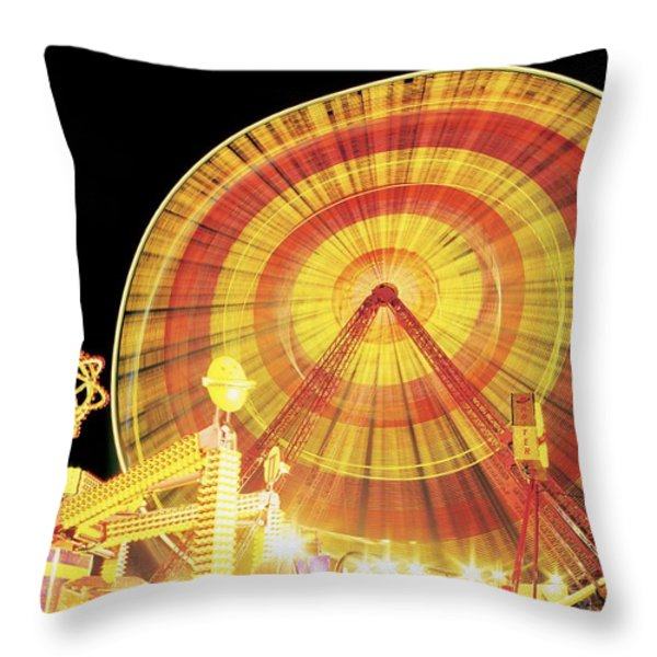 Ferris Wheel And Other Rides, Derry Throw Pillow by The Irish Image Collection