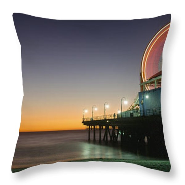 Ferris Wheel And Rollercoaster At Dusk Throw Pillow by Axiom Photographic