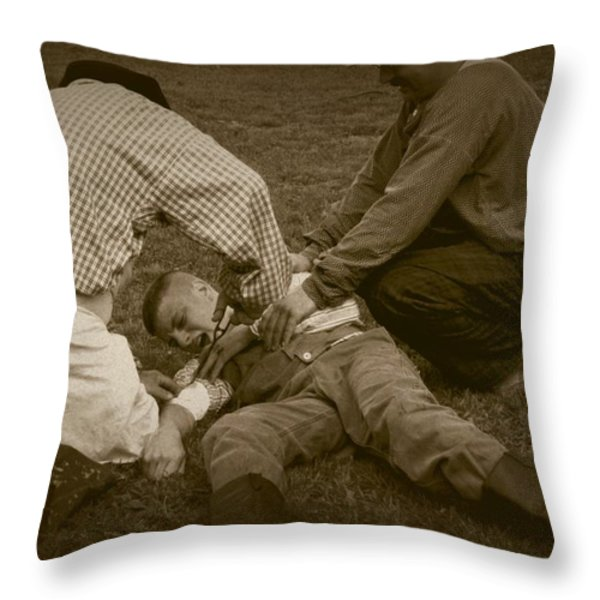 Field Repair Throw Pillow by David Dunham