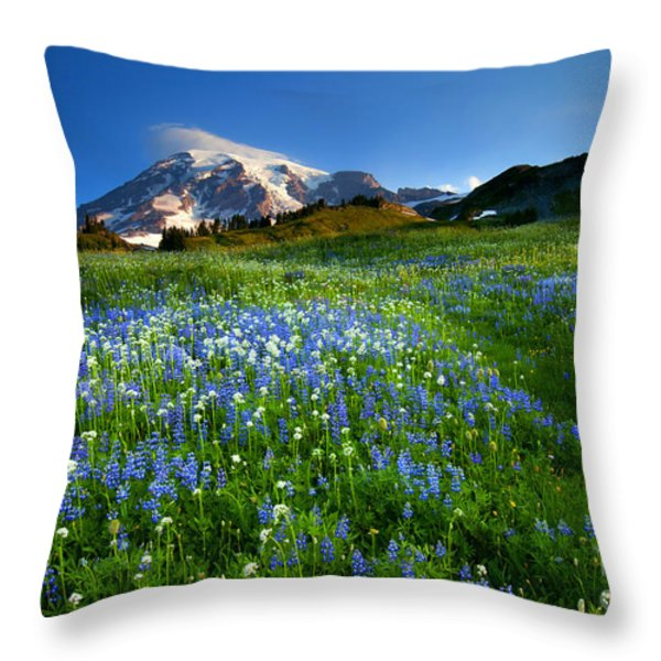 Fields Of Paradise Throw Pillow by Mike  Dawson