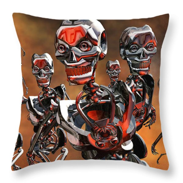 Fierce Androids Riot The City Of Tokyo Throw Pillow by Mark Stevenson