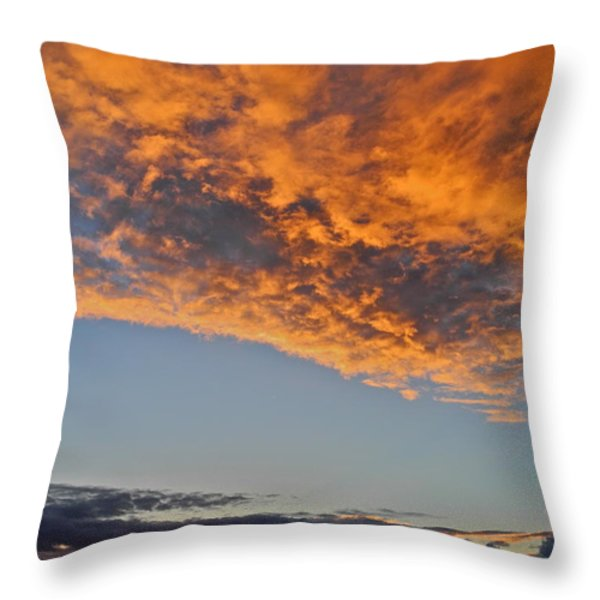 Fiery Sky At Sunset In Maui Throw Pillow by Kirsten Giving