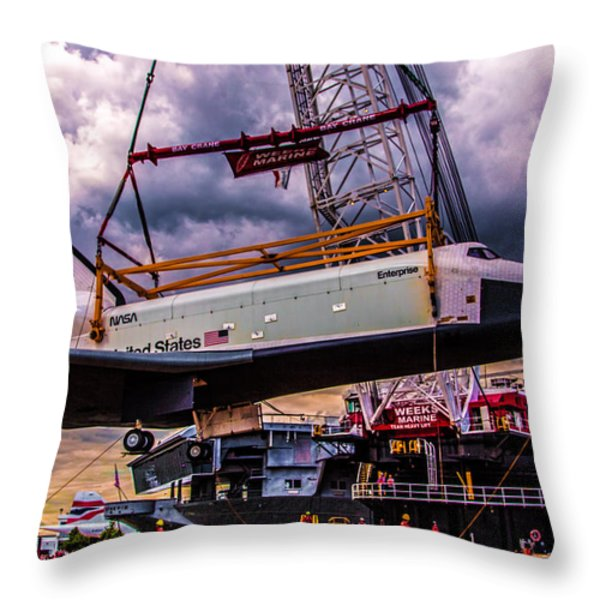 Final Flight of the SS Enterprise Throw Pillow by Chris Lord