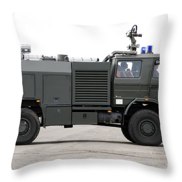 Fire Engine Of The Belgian Army Located Throw Pillow by Luc De Jaeger