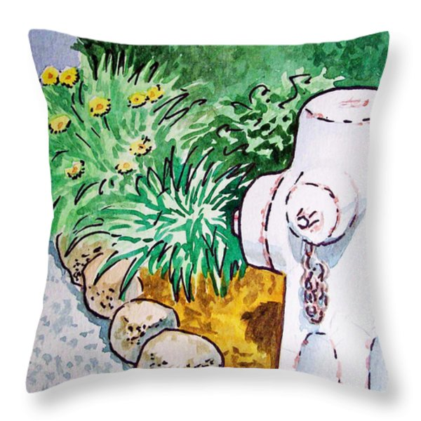 Fire Hydrant Sketchbook Project Down My Street Throw Pillow by Irina Sztukowski