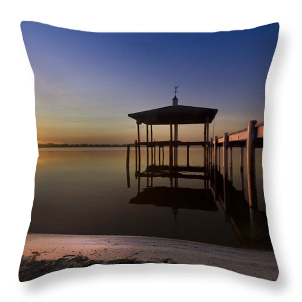 Fire Lake Throw Pillow by Debra and Dave Vanderlaan