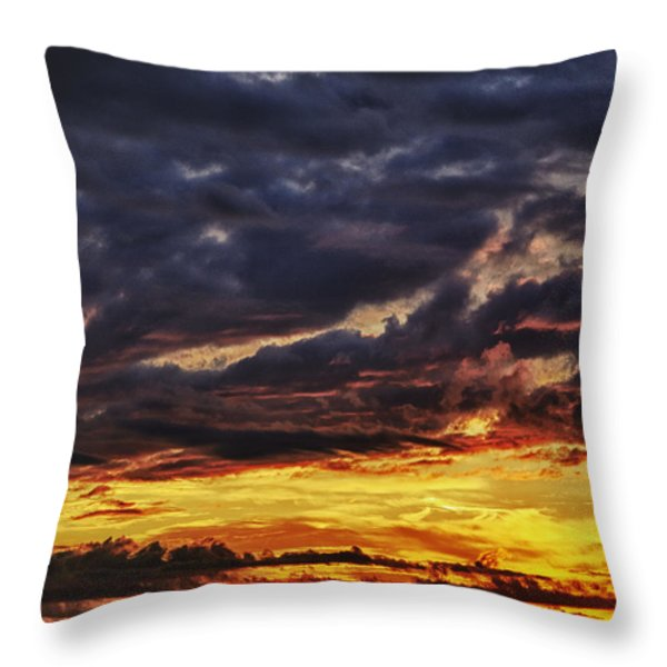 Fire Lake Throw Pillow by Skip Nall