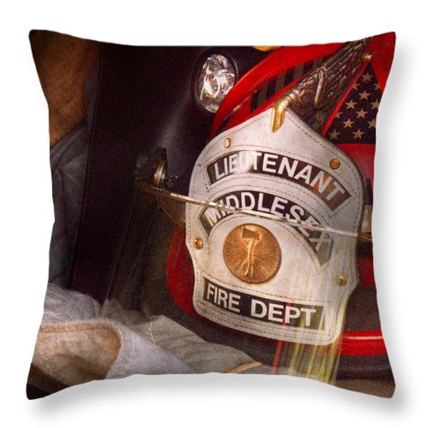 Fireman - Hat - The Lieutenants Cap  Throw Pillow by Mike Savad