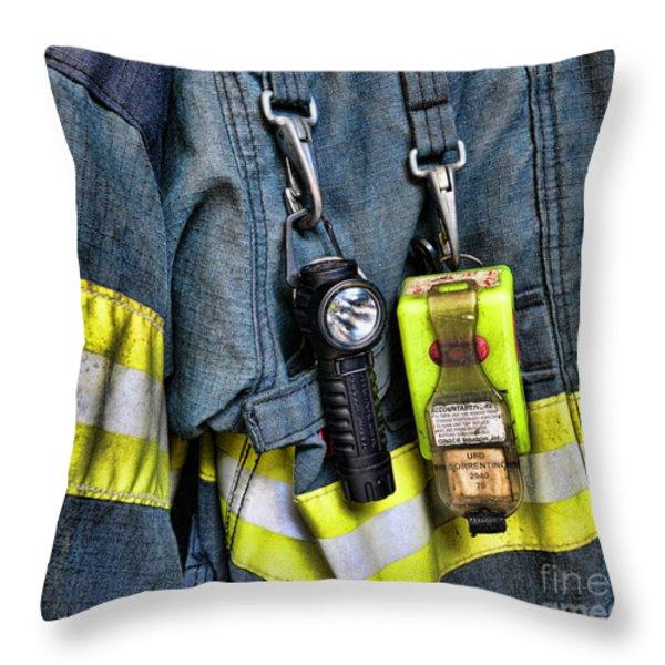 Fireman - The Fireman's Coat Throw Pillow by Paul Ward