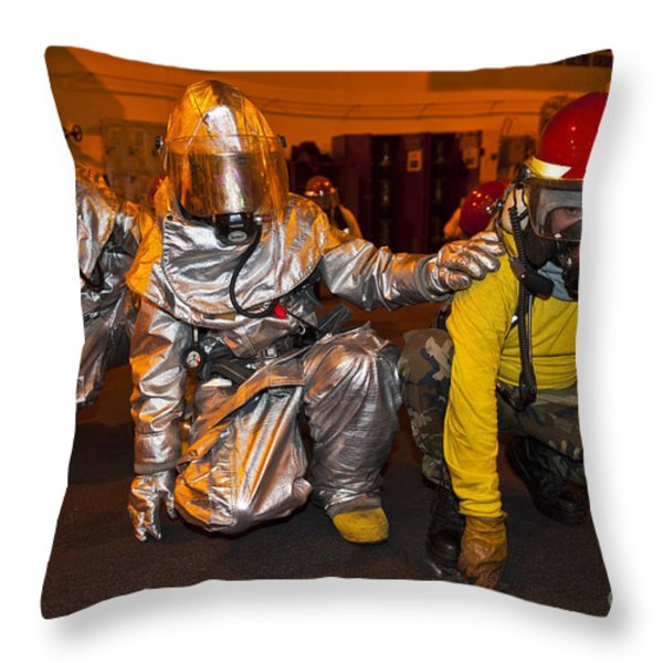 Firemen Brace For Shock Throw Pillow by Stocktrek Images