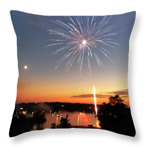 Fireworks And Sunset Throw Pillow by Amber Flowers