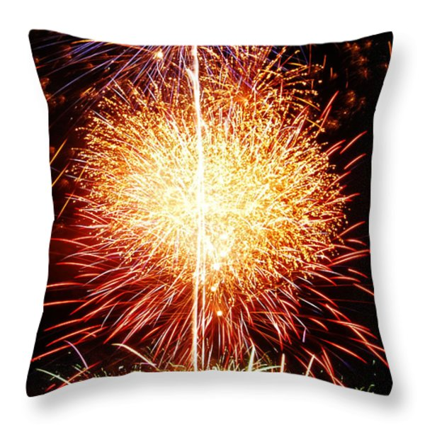 Fireworks_1591 Throw Pillow by Michael Peychich