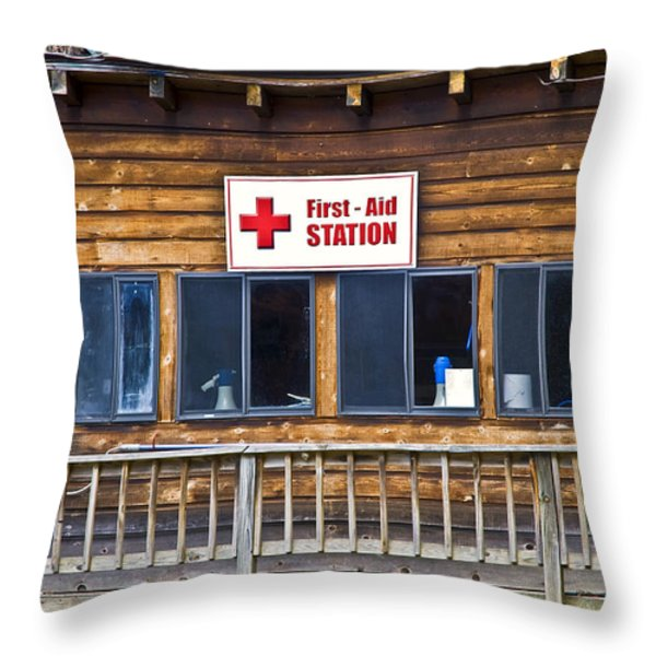 First Aid Station Throw Pillow by Susan Leggett