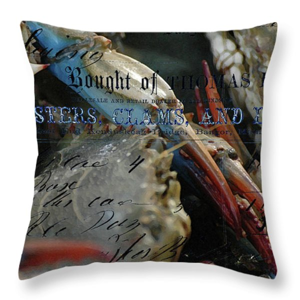 Fish And Lobsters  Throw Pillow by Anahi DeCanio