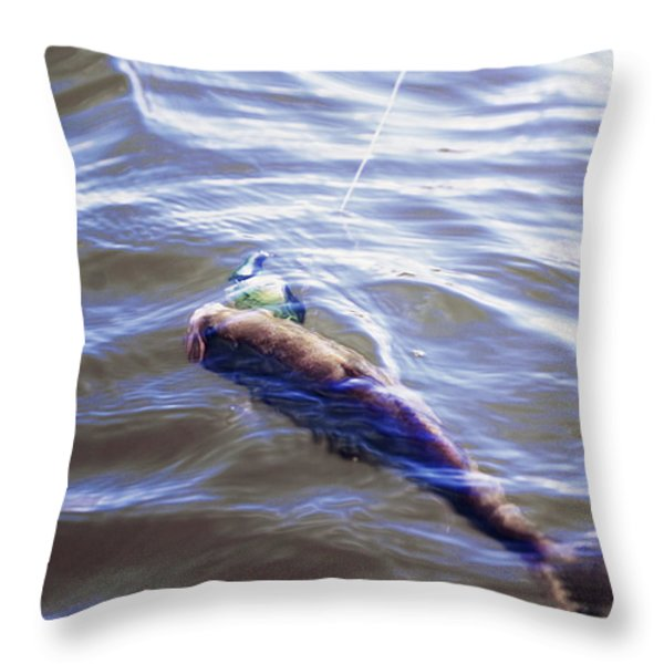 Fish In The Water Throw Pillow by Kelly Rader