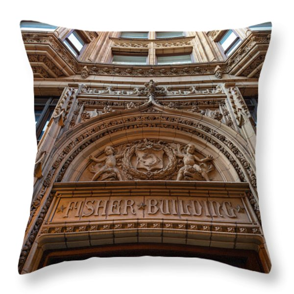 Fisher Building Chicago Throw Pillow by Steve Gadomski