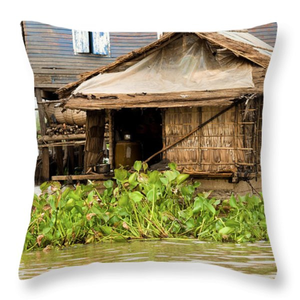 Fisherman Boat House Throw Pillow by Artur Bogacki
